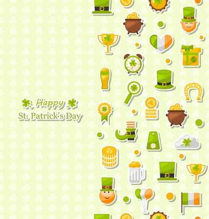 17th march: Illustration Seamless Vertical Pattern with Cartoon Colorful Flat Icons for Saint Patricks Day, Traditional Irish Wallpaper - raster  Stock Photo