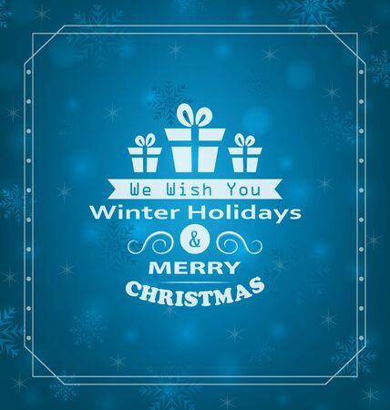 felicitation: Illustration Merry Christmas Wishes, Typography Design. Celebration Card Frame - raster