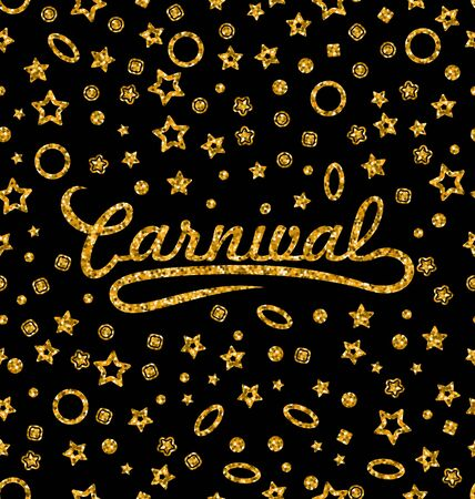 carnevale: Illustration Golden Glittering Seamless Pattern with Different Geometric Figures for Carnival. Shimmering Continuous Wallpaper, Luxury Background, Disco Party Template - raster