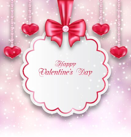 shimmering: Illustration Shimmering Background with Celebration Paper Card and Hanging Hearts for Valentines Day - raster