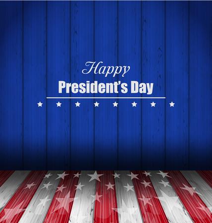 Ilustracja abstrakcyjne tapety na Happy Presidents Day USA. Szablon uroczystość karty, drewniana Design - Vector