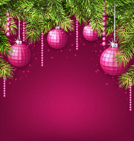 twigs: Illustration Pink Wallpaper with Fir Twigs and Glassy Balls for Happy Winter Holidays - raster