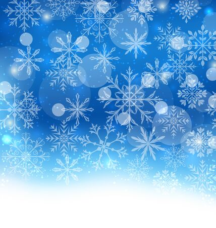 felicitation: Illustration Winter Blue Background with Snowflakes and Copy Space for Your Text - raster