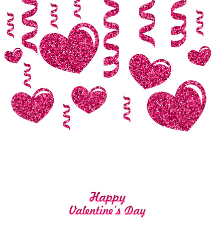 text sample: Frame from Pink Hearts with Glitter Background, space place for your text, sample lettering  - vector