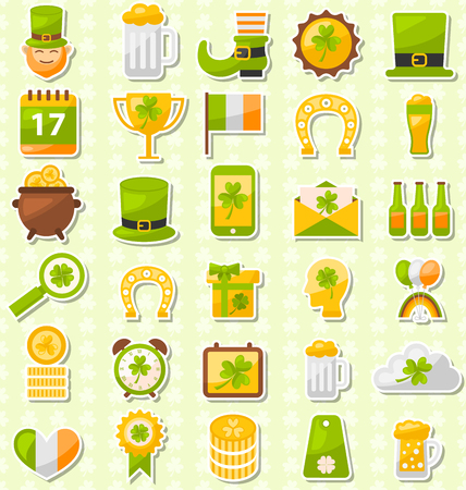 three leafed: Illustration Modern Flat Design Icons for Saint Patricks Day, Collection Holiday Irish Elements - Vector