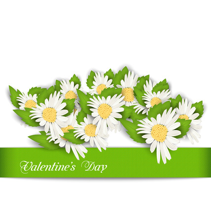 chamomile: Illustration Nature Postcard with Chamomile Flowers for Valentines Day - Vector
