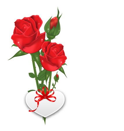 green and red: Illustration Bouquet Beautiful Flowers Roses with Paper Postcard for Happy Valentines Day, Isolated on White Background - Vector Illustration