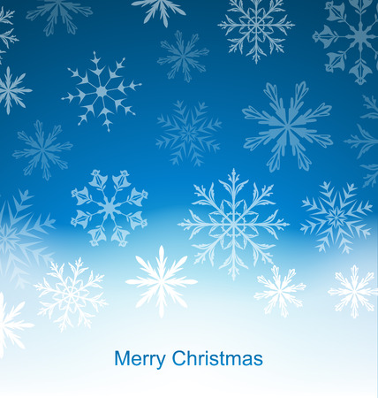 felicitation: Illustration New Year Blue Background with Snowflakes - Vector Illustration