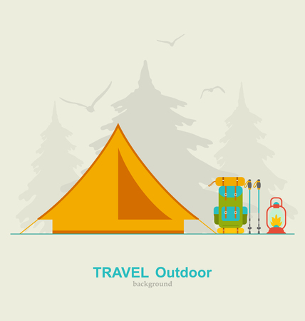 trekking pole: Illustration Travel Camping Background with Tourist Tent, Backpack, Lantern and Trekking Pole - Vector