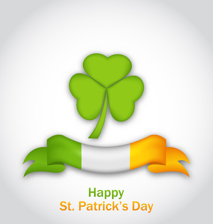 three leafed: Illustration clover with ribbon in traditional Irish flag colors for St. Patricks Day - vector