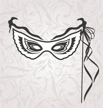 venice carnival: Illustration Venice Carnival or Theater Mask with Ribbons - Vector