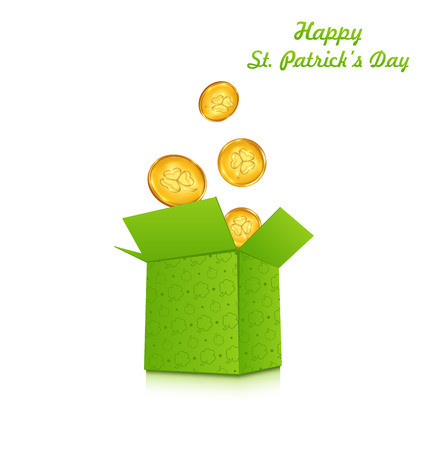 17th of march: Illustration open cardboard box with golden coins for St. Patricks Day, isolated on white background - vector