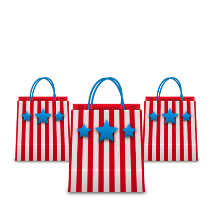packets: Illustration Shopping Bags in American Patriotic Colors. Packets Isolated on White Background - Vector Illustration