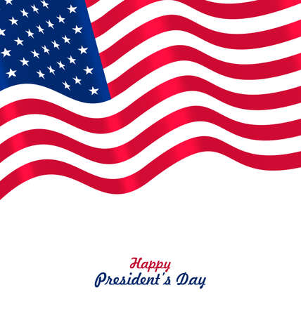symbolic: Flag USA Waving Wind for Happy Presidents Day, Patriotic Symbolic Vintage Decoration for Holiday or Celebration Backgrounds - Vector