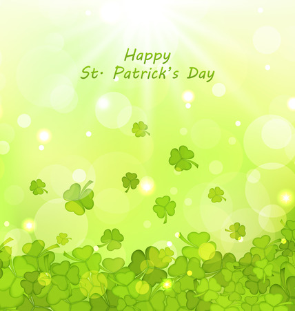 leafed: Illustration Glowing Background with Clovers for St. Patricks Day - Vector