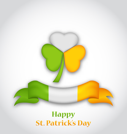 three leafed: Illustration shamrock and ribbon in traditional Irish flag colors for St. Patricks Day - vector