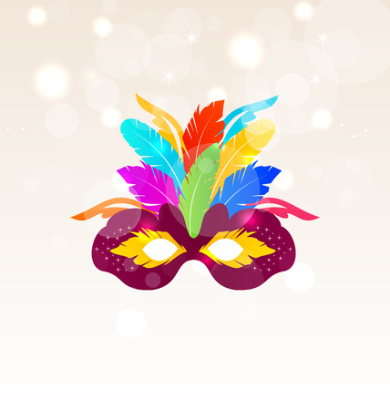 masked ball: Illustration Colorful Carnival Mask with Feathers on Glowing Background, Copy Space for Your Text - Vector