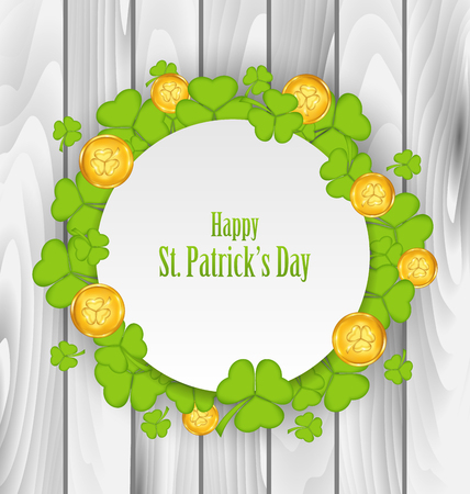 Illustration Greeting Card with Clovers and Golden Coins for St. Patricks Day - Vector Illustration