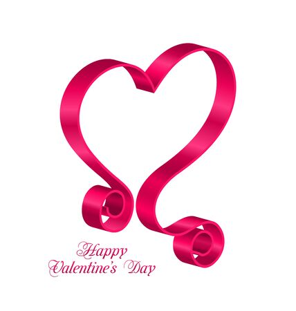 looping: Illustration Pink Tape Ribbon in Form Heart for Happy Valentines Day. Isolated on White Background. Looping Ribbon - Vector Illustration