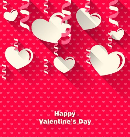 Illustration Valentines Day Background with Paper Hearts and Serpentine, Trendy Flat Style with Long Shadows - Vector Illustration