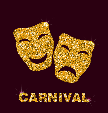 glisten: Illustration Gold Glittering Carnival Theater Mask on Dark Background - Vector Illustration
