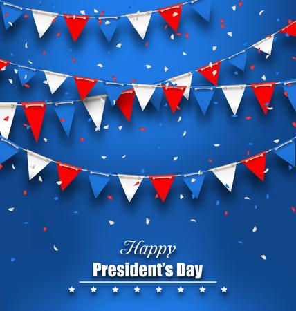 插图爱国背景与旗帜快乐总统日,颜色的美国-向量