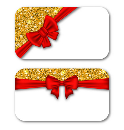 plated: Illustration Paper Cards with Red Bow Ribbon and Golden Dust. Template for Greeting Cards, Invitations, Voucher Design, Coupons, Discounts - Vector