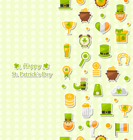 three day beard: Illustration Seamless Vertical Pattern with Cartoon Colorful Flat Icons for Saint Patricks Day, Traditional Irish Wallpaper - Vector