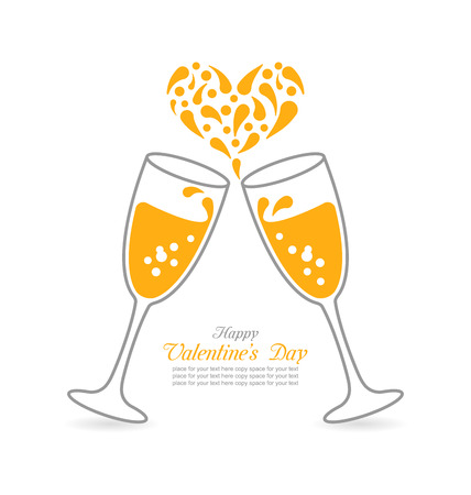 wineglasses: Illustration Wineglasses of Sparkling Champagne and Splashes in Form Heart for Happy Valentines Day - Vector Illustration