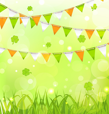 festal: Illustration Holiday Background with Bunting Pennants in Irish Colors and Clovers for St. Patricks Day - Vector