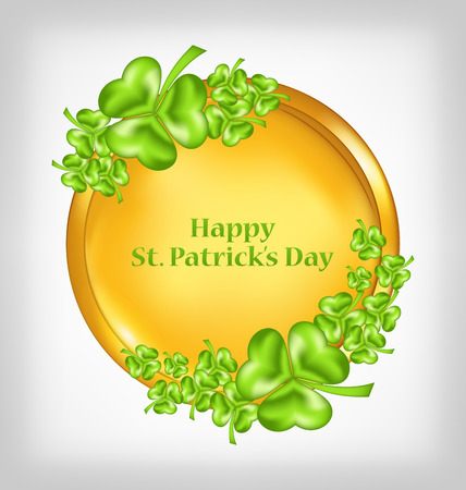 three leafed: Illustration golden coin with shamrocks. St. Patricks Day symbol - vector Illustration
