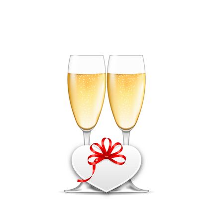 wineglasses: Illustration Wineglasses of Champagne and Paper Postcard for Happy Valentines Day, Isolated on White Background - Vector Illustration