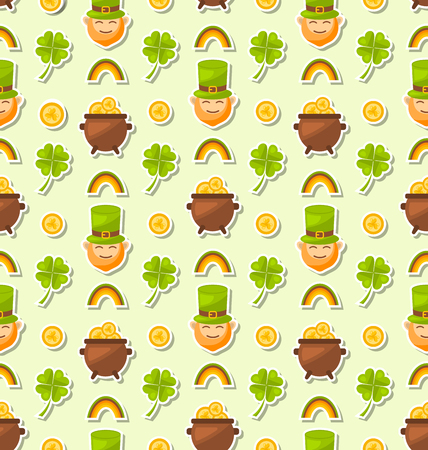 three leafed: Illustration Seamless Holiday Background with Cartoon Colorful Elements and Objects for Saint Patricks Day - Vector