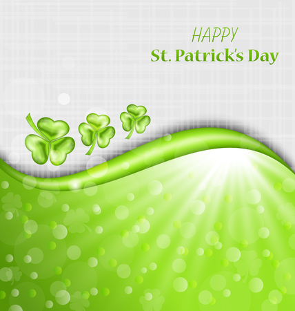 leafed: Illustration Abstract Glowing Background with Green Trefoils for St. Patrick Day - Vector