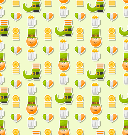 saint patricks day: Illustration Seamless Background with Traditional Irish Elements and Objects for Saint Patricks Day - Vector Illustration