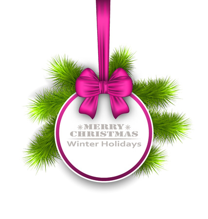 weihnachten: Illustration Celebration Card with Bow Ribbon, Best Wishes - Vector Illustration