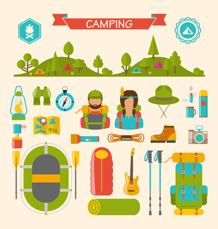 travel burner: Illustration Set of Camping and Hiking Equipment, Outdoors Adventure, Recreation Tourism, Colorful Symbols and Flat Icons Isolated - Vector