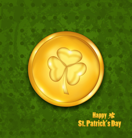 Illustration golden coin with three leaves clover. Grunge St. Patricks background - vector