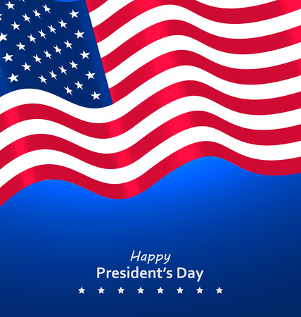 patriotic usa: Flag USA Waving Wind for Happy Presidents Day, Patriotic Symbolic Vintage Decoration for Holiday - Vector Illustration