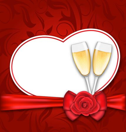 champagne celebration: Illustration Celebration Card Heart Shaped with Silk Bow, Red Rose and Wineglasses of Champagne for Happy Valentines Day - Vector
