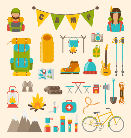 Illustration Collection of Camping and Hiking Equipment, Colorful Symbols and Icons Isolated - Vector