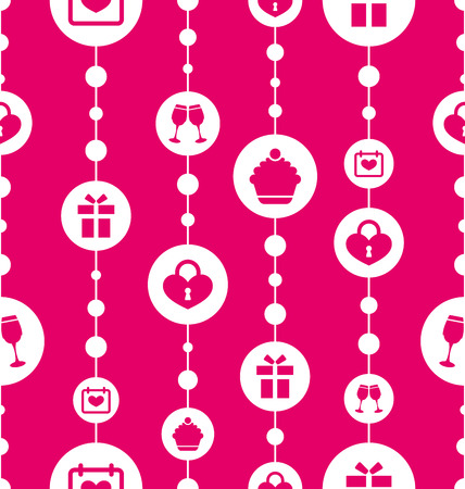 bocal: Illustration Seamless Pattern with Traditional Objects and Elements for Valentines Day. Pink Background - Vector