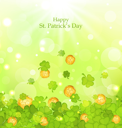 three leafed: Illustration light background with clovers and coins for St. Patricks Day - vector