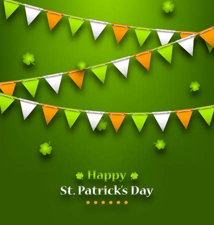 17th of march: Illustration Bunting Pennants in Irish Colors and Clovers for St. Patricks Day - Vector