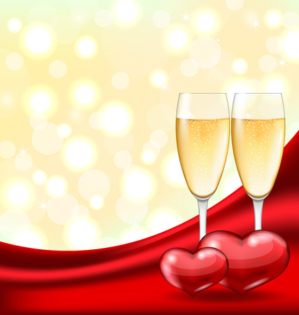 wineglasses: Illustration Abstract Background with Wineglasses of Champagne and Couple Hearts for Happy Valentines Day - raster