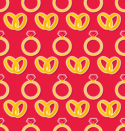 wallpaper rings: Illustration Simple Seamless Wallpaper with Rings for Valentines Day or Wedding - raster
