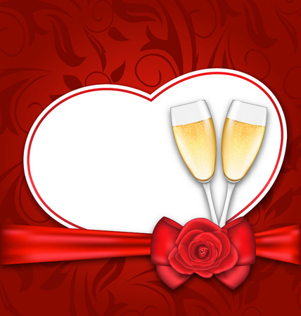 wineglasses: Illustration Celebration Card Heart Shaped with Silk Bow, Red Rose and Wineglasses of Champagne for Happy Valentines Day - raster