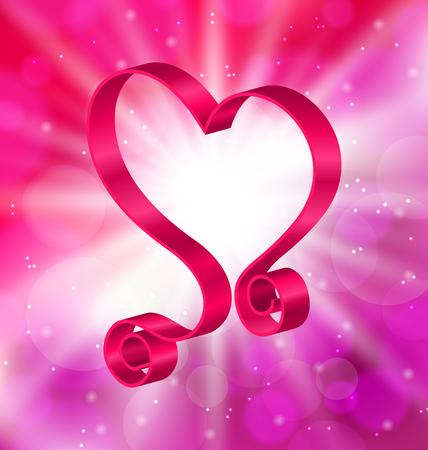 lighten: Illustration Looping Pink Ribbon in Form Heart for Happy Valentines Day on Lighten Background - raster