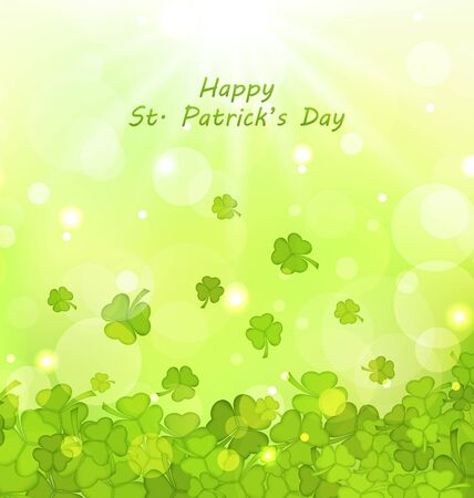 st patricks day: Illustration Glowing Background with Clovers for St. Patricks Day - raster Stock Photo