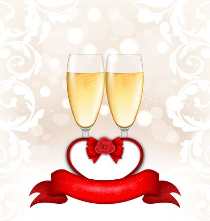 wine background: Illustration Happy Valentines Day Glowing Background with Wineglasses of Champagne and Postcard with Flower Rose - raster